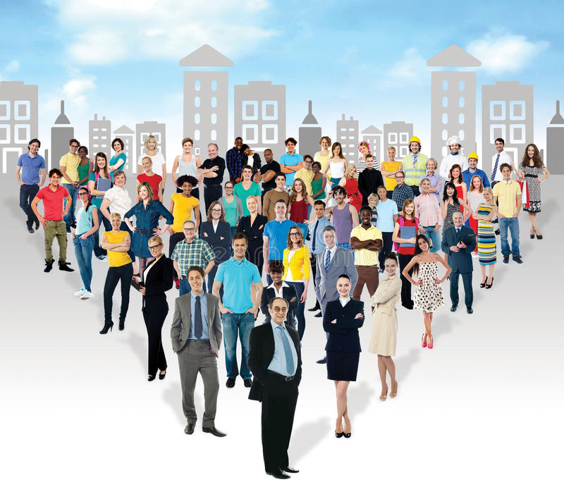 Multi-ethnic people in mass numbers stock photography