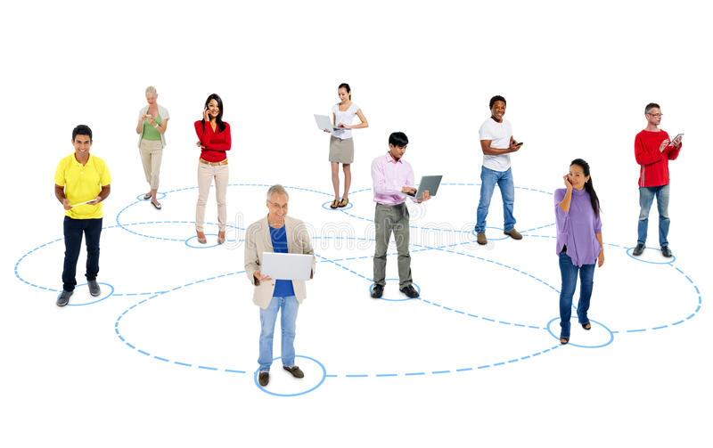 Multi-Ethnic of People in Social Networking stock images