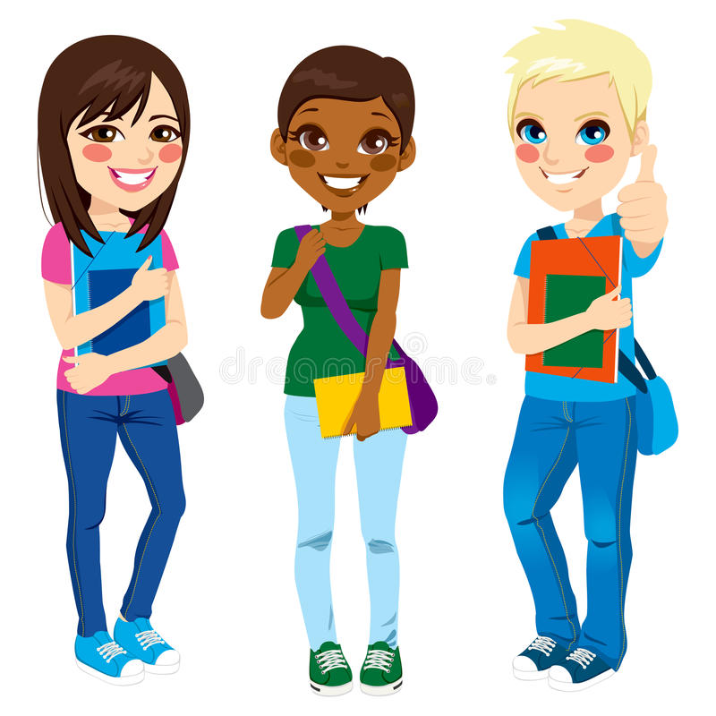 Multi Ethnic Students. Multi ethnic group of three young teenage students standing with positive expression ready to go back to school with shoulder bag, folder vector illustration