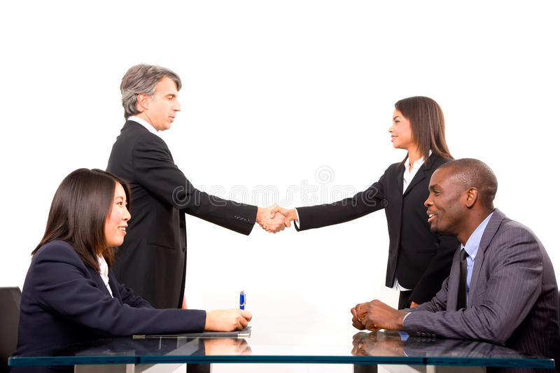 Multi-ethnic team during a meeting stock photo