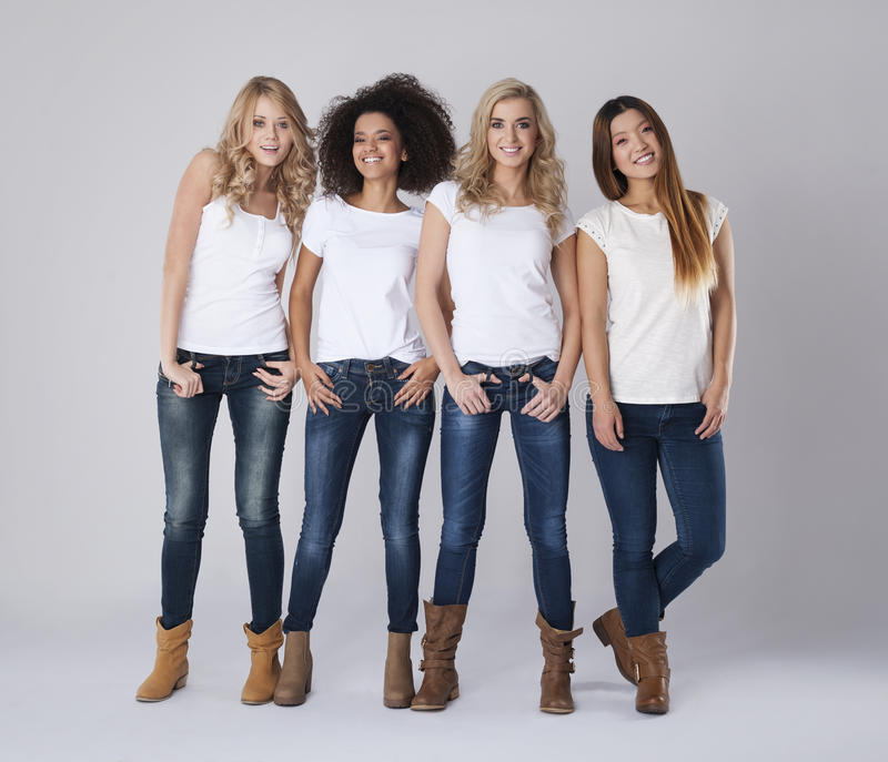 Multi ethnic women. Friendship between girls is very strong stock images