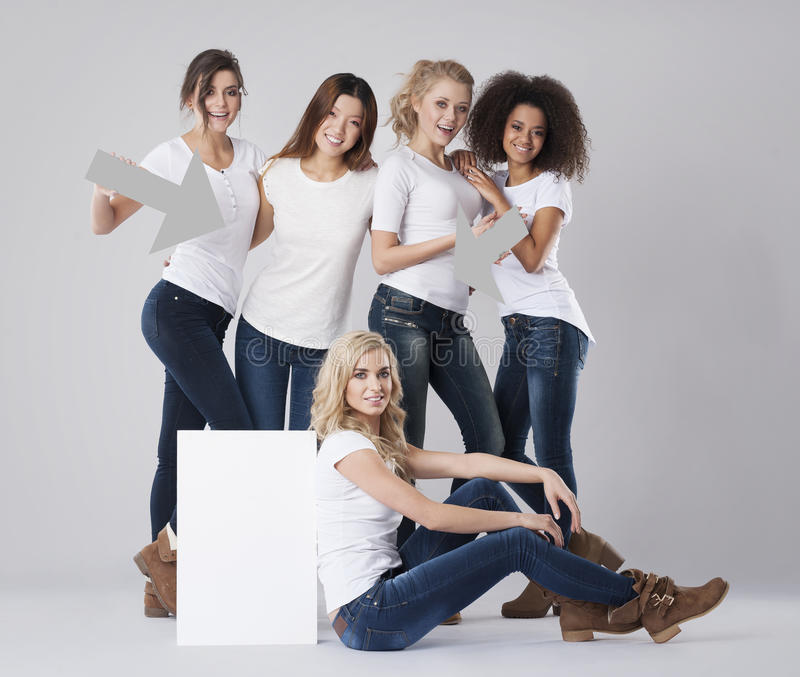 Multi ethnic women stock photography