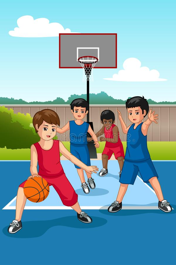 Multi Ethnie Kinder, die Basketball-Illustration spielen lizenzfreie abbildung