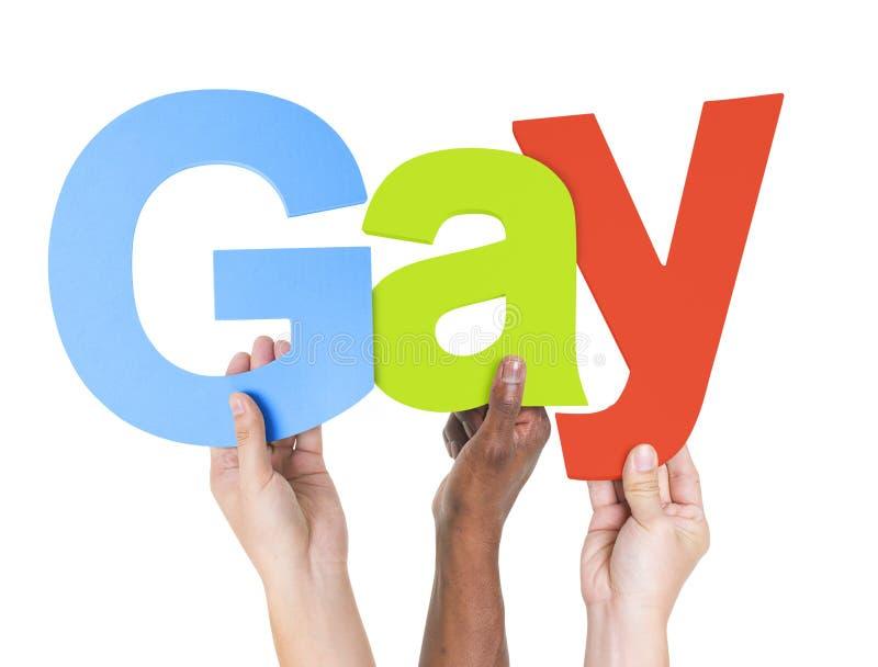 Multi-etnische de Wapens Opgeheven Homosexueel van de Holdingstekst royalty-vrije stock fotografie