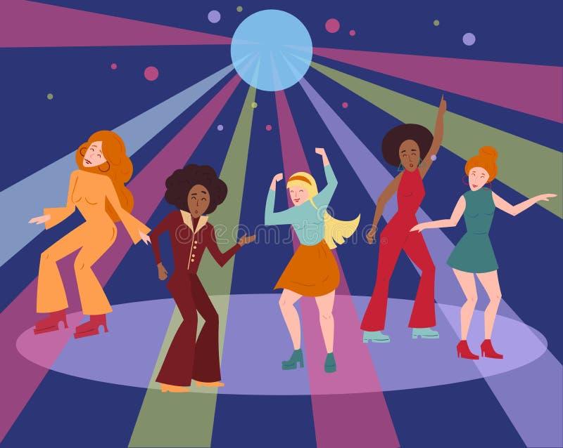 Multi etnische groep in de disco van de de doekdans van 1970 van 1960 royalty-vrije illustratie