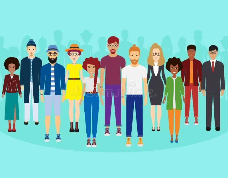 Multi-etnische groep die mensen, gemeenschap en samenhorigheidsconcept zich verenigen vector illustratie