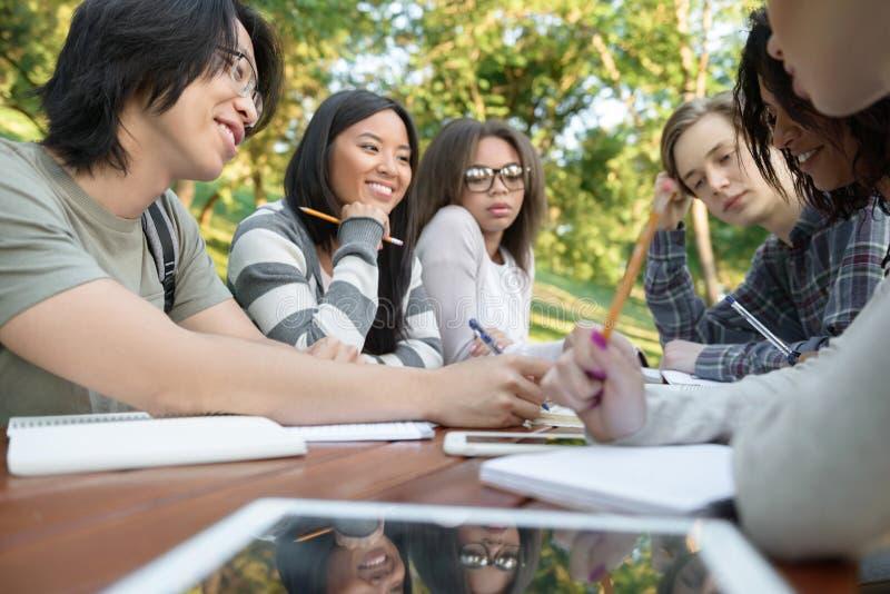 Multi-etnische groep gelukkige jonge studenten royalty-vrije stock foto's