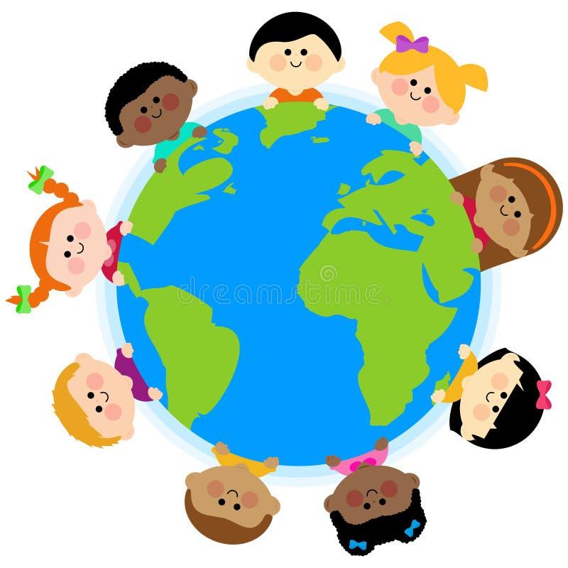 Multi etnische groep jonge geitjes rond de aarde stock illustratie