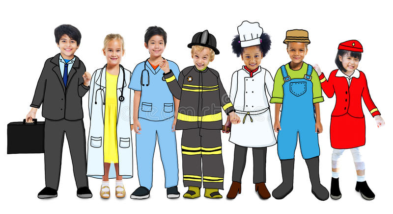 Multi-etnische Groep Kinderen met Toekomstige Carrièreuniformen vector illustratie
