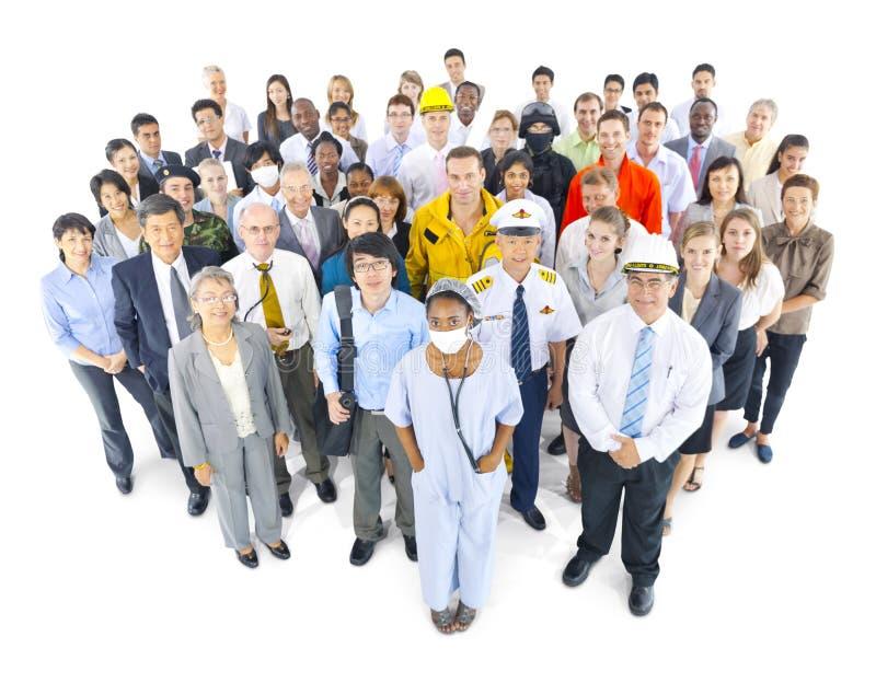 Multi-etnische Groep Mensen in Diverse Beroepen stock fotografie