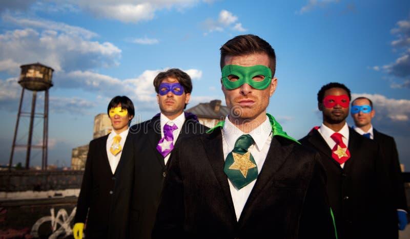 Multi-etnische Groep Superhero-Zakenlieden royalty-vrije stock foto's