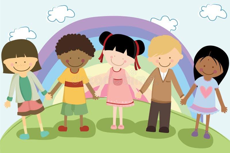 Multi etnische kinderen stock illustratie