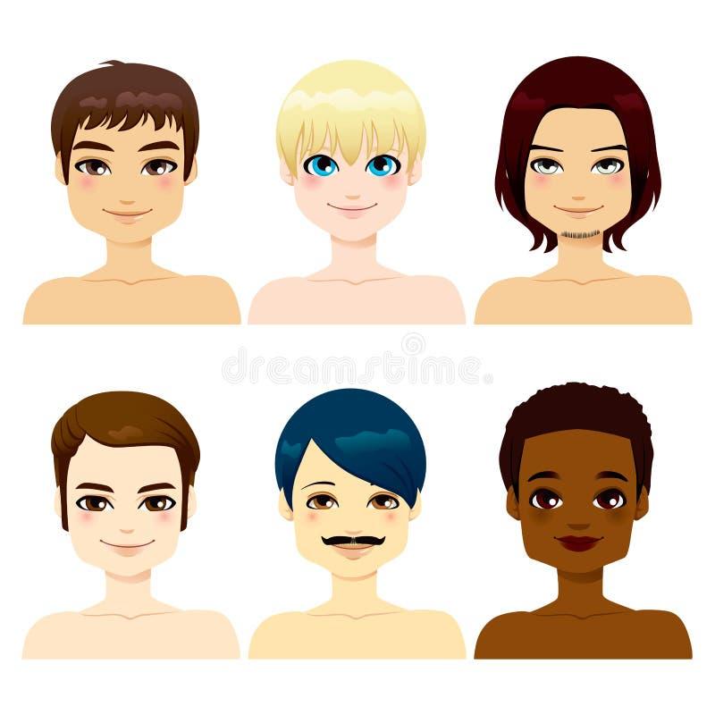 Multi-etnische Knappe Mensen stock illustratie