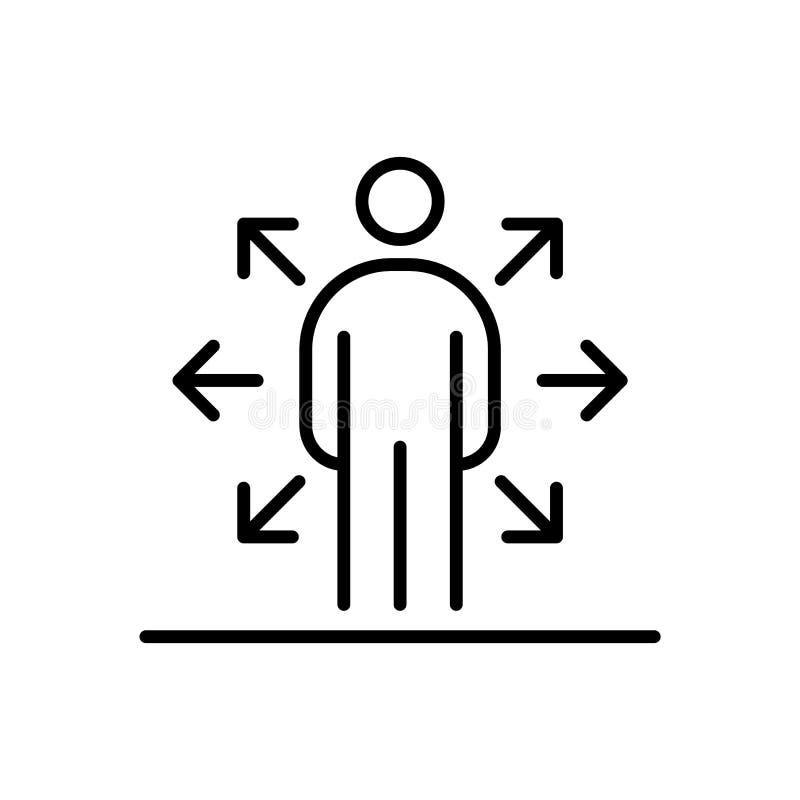 Multi executivos da linha simples ilustração lisa do ícone do empregador da tarefa ilustração do vetor