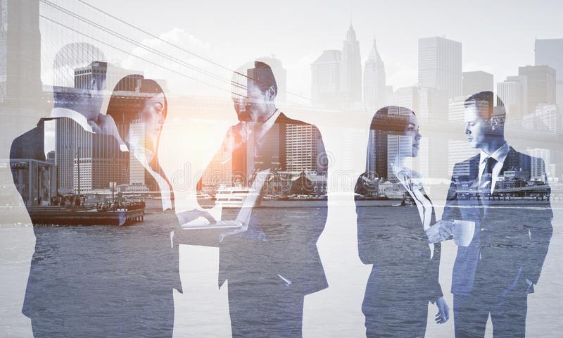 Multi exposure of group of business people royalty free stock images
