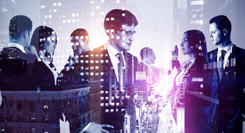 Multi exposure of group of business people stock photo