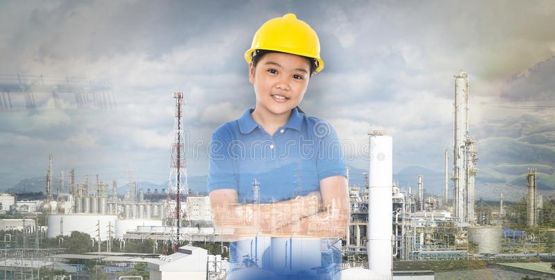 Multi exposure of young lady with refinery industrial plant royalty free stock photos