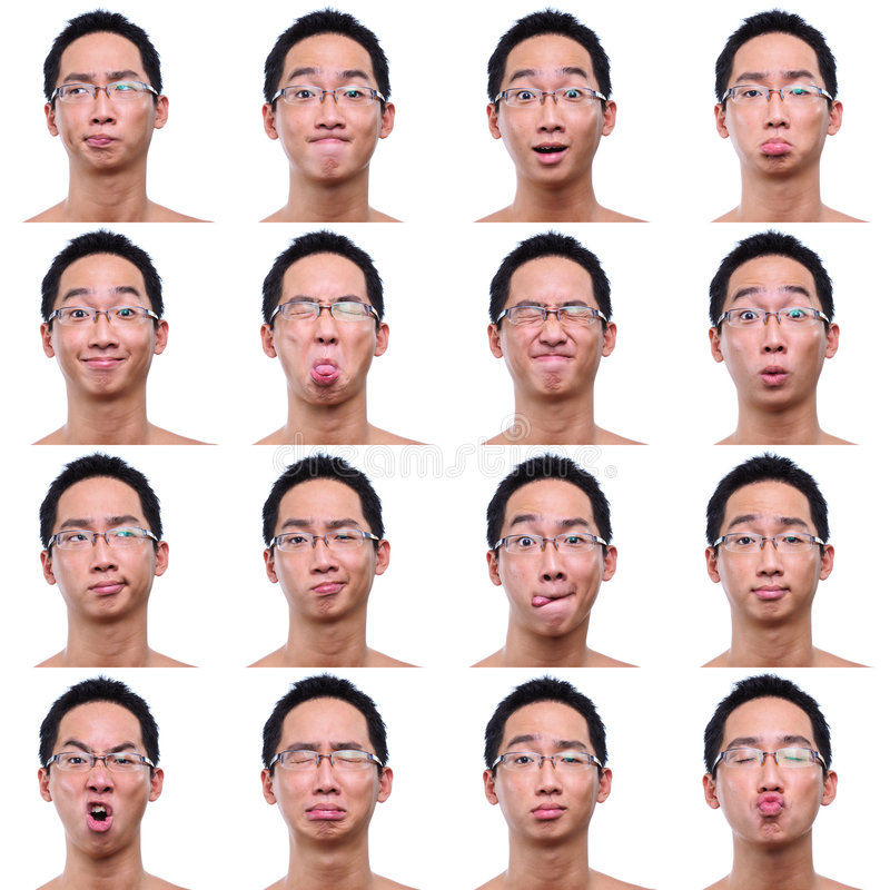 Multi facial expressions of asian male stock photo