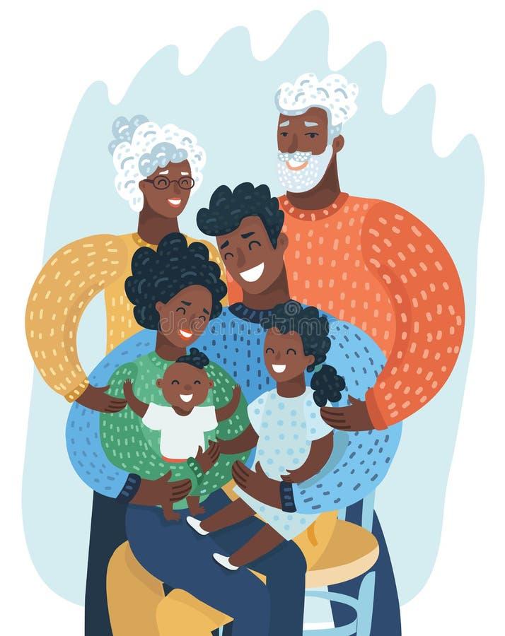Multi família do preto da geração Afro-americano ilustração stock