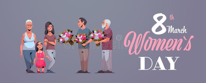 Multi família feliz da geração que felicita mulheres com os homens internacionais do conceito do dia do 8 de março que dão a flor ilustração do vetor