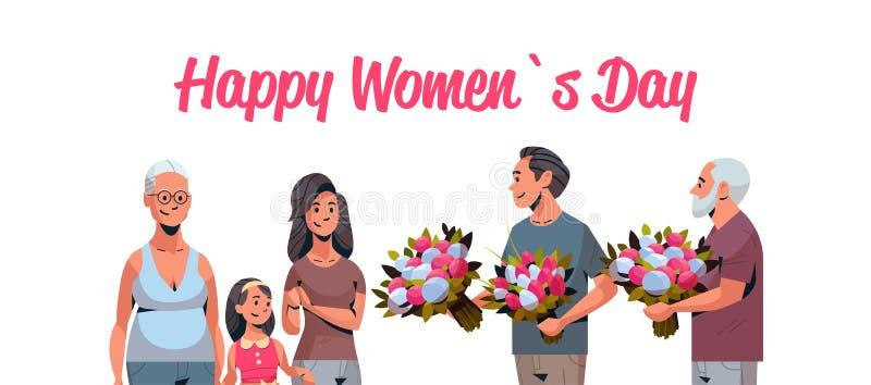 Multi família feliz da geração que felicita mulheres com os homens internacionais do conceito do dia do 8 de março que dão a flor ilustração stock