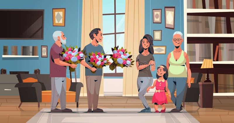Multi família feliz da geração que felicita mulheres com os homens internacionais do conceito do dia do 8 de março que dão a sala ilustração stock