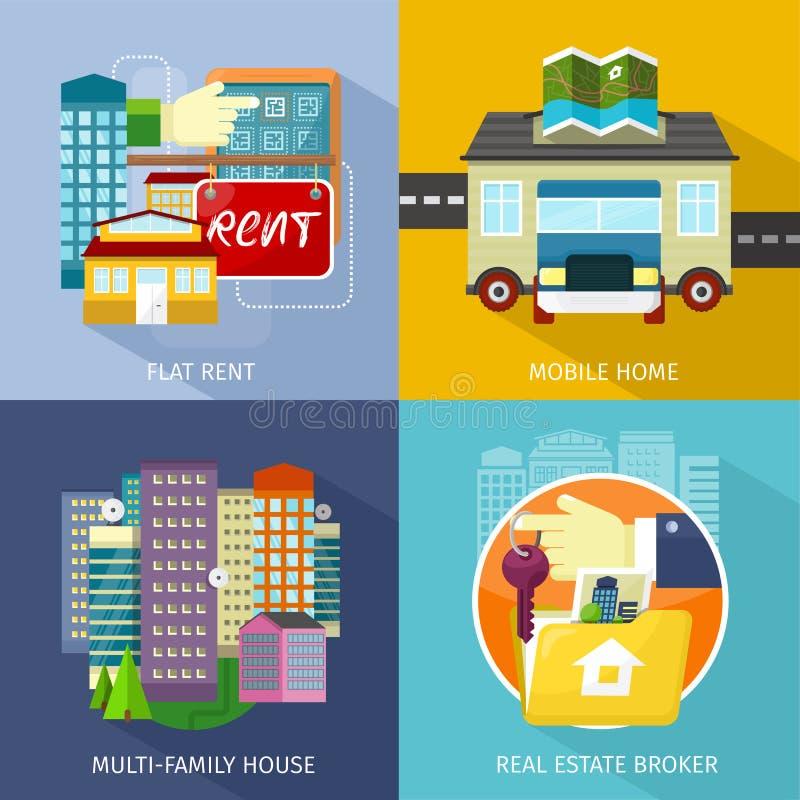 Multi-family σπίτι, τροχόσπιτο, επίπεδο μίσθωμα απεικόνιση αποθεμάτων