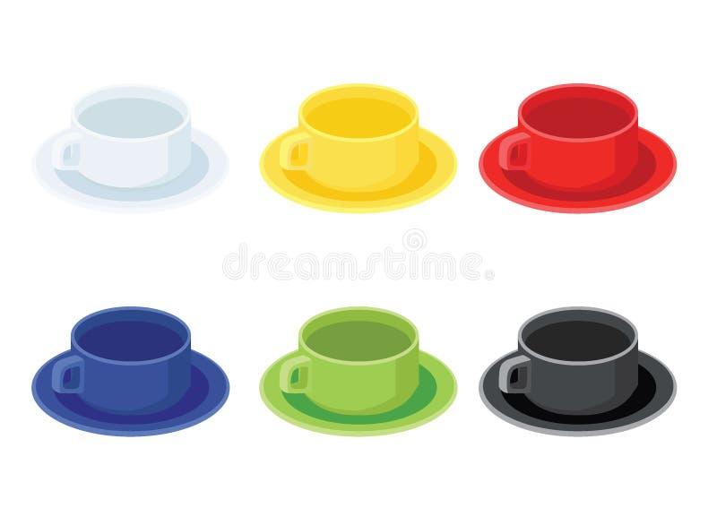 Multi Farbe der Kaffeetasse und weißes gelbes rotes blaues grünes Schwarzes vieler Kaffeetassen multi Farb vektor abbildung