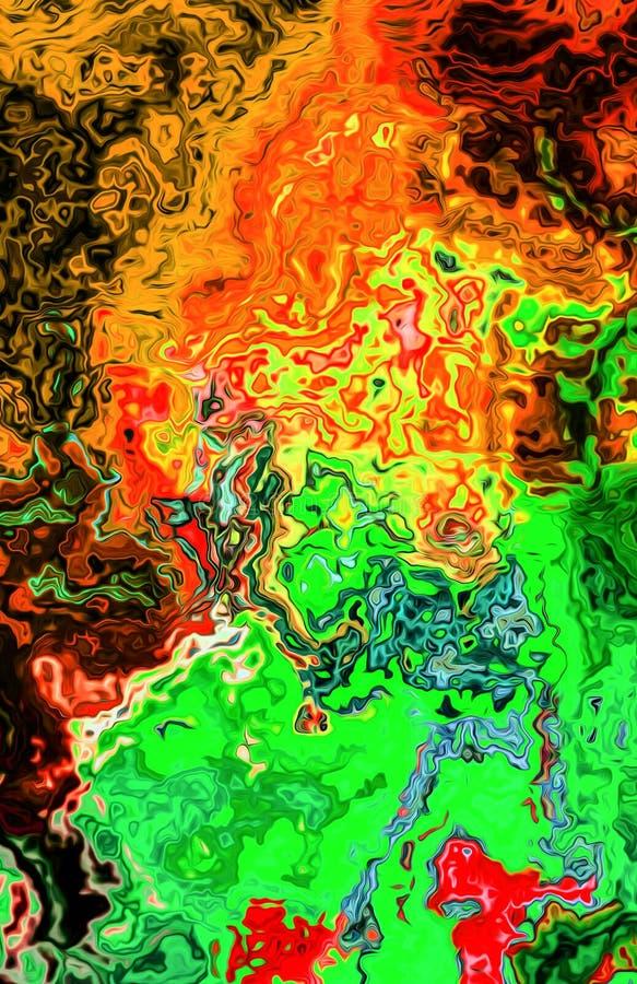 Multi farbige abstrakte der Orange, Gelber, Purpurroter und Grüner Dekoration des Hintergrundes, digitale Illustration lizenzfreie abbildung