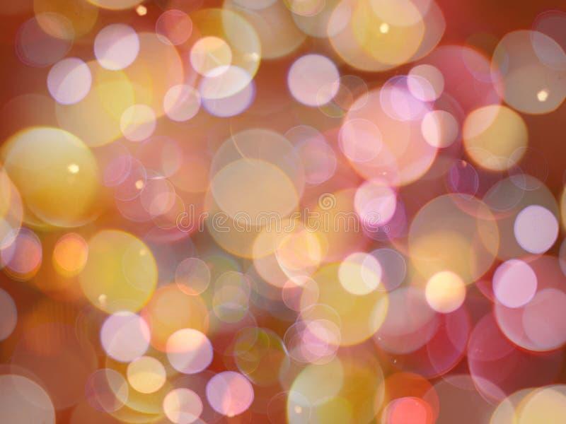 Multi farbige glühende runde unscharfe Lichtnachtzusammenfassung mit Scheineffekten lizenzfreie stockfotos