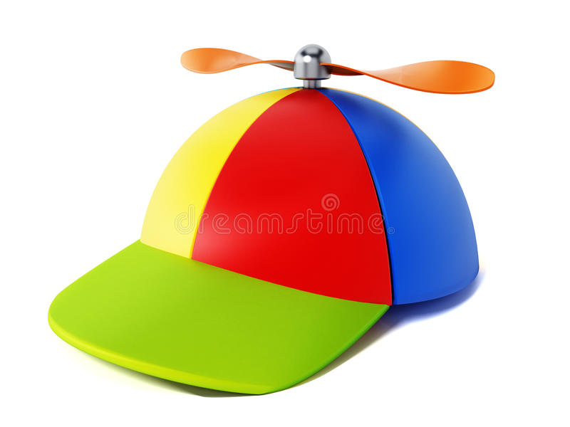 Multi farbiger Hut mit Propeller auf weißem Hintergrund Abbildung 3D stock abbildung