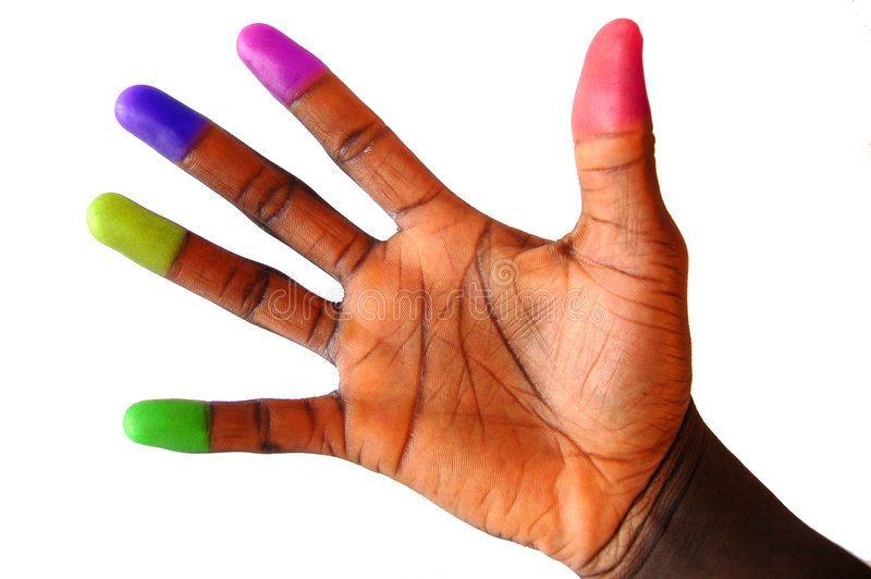 Multi farbiger (kultivierter) Finger kippt um stockfoto