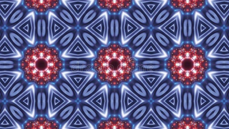 Multi Farbkaleidoskopmuster abstrakte Mandala mit blauem Rotem und dem Glühen vektor abbildung