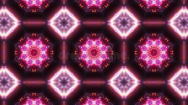 Multi Farbkaleidoskopmuster abstrakte Verzierung mit blauem Rotem und dem Glühen stock abbildung