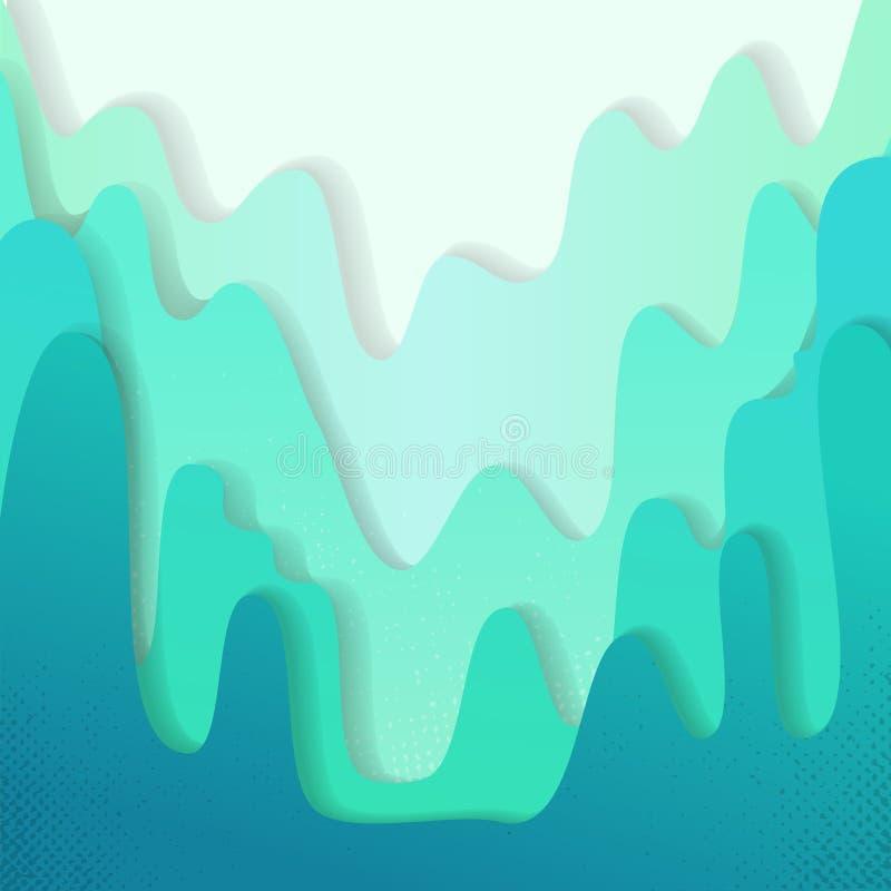 Multi Farbpapierschichten 3D papercut Hügel mit Steigung auf grün-blauem Vektorhintergrund Abstraktes Papier schnitt Beschaffenhe lizenzfreie abbildung