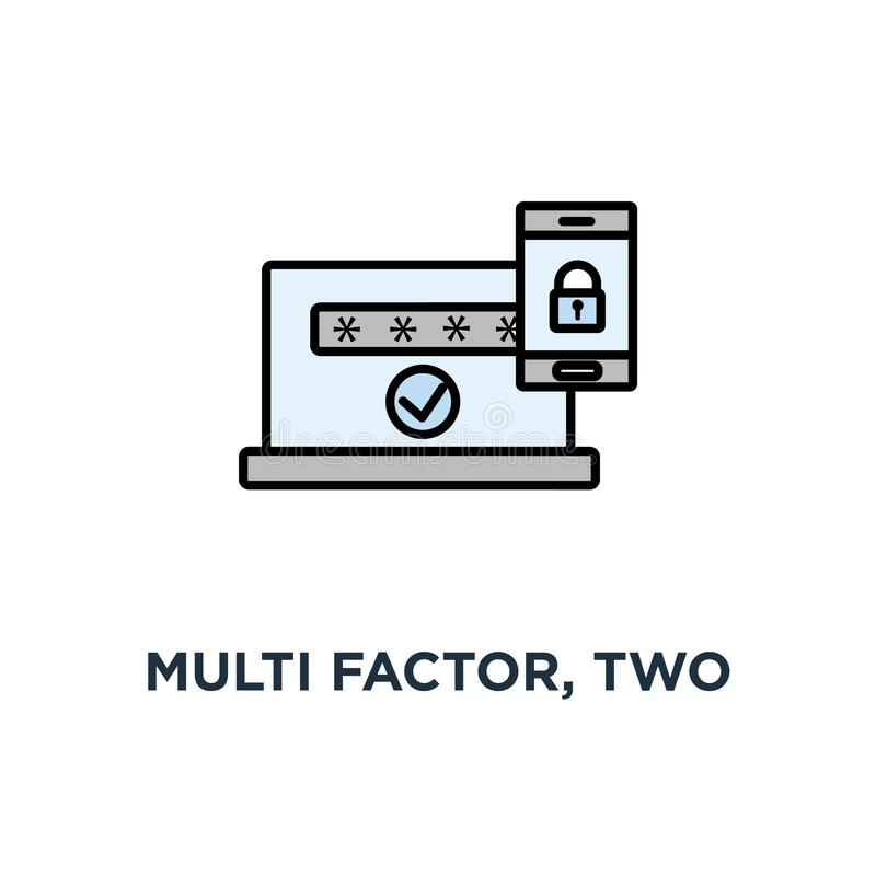 multi fattore, un'autenticazione di due punti, icona online del controllo di accesso, simbolo del telefono cellulare con la serra royalty illustrazione gratis