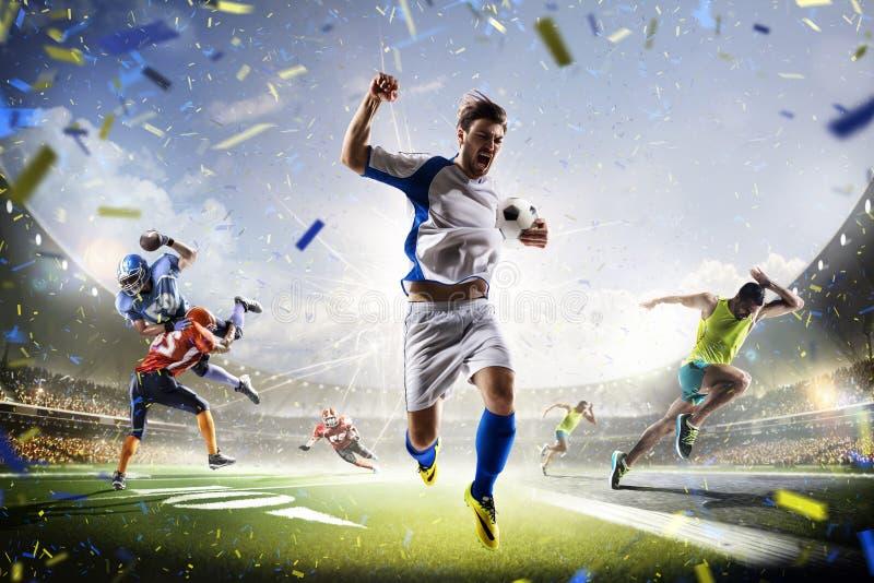 Multi football americano e funzionamento di calcio del collage di sport fotografia stock libera da diritti