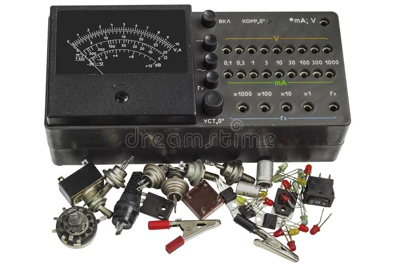 Multi- meter and Radiodetali Semiconductor royalty free stock images