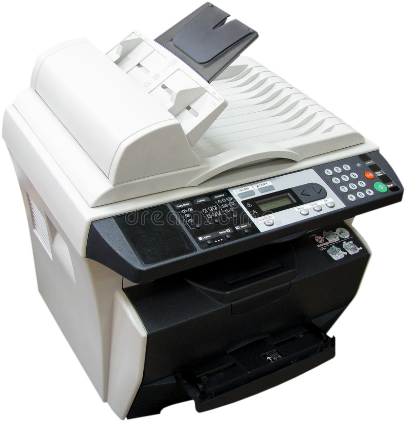 Multi-functional device. Isolated photo of multi-functional device (copier+printer+scanner stock photo