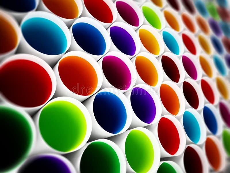 Multi fundo plástico colorido dos tubos ilustração 3D ilustração stock
