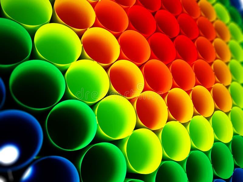 Multi fundo plástico colorido dos tubos ilustração 3D ilustração do vetor