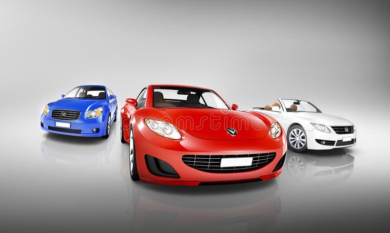Multi gefärbt von den Luxusfahrzeugen lizenzfreie abbildung