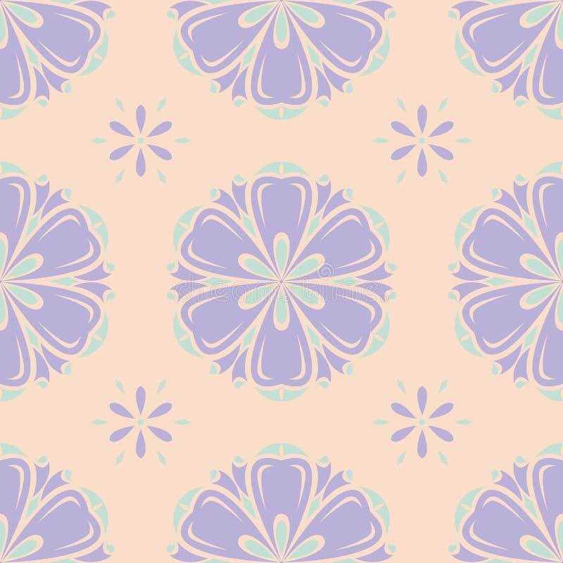 Multi gekleurd bloemen naadloos patroon Beige achtergrond met violette en blauwe bloemelementen vector illustratie