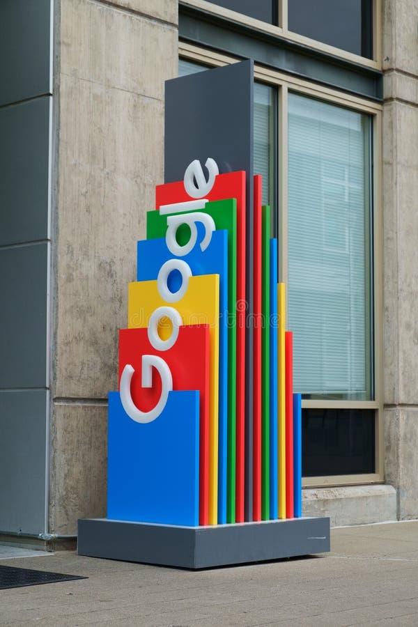 Multi gekleurd Google-teken stock afbeelding