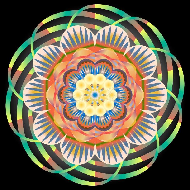 Multi gekleurd oosters uitstekend patroon met arabesques bloemenelementen, mandala royalty-vrije illustratie