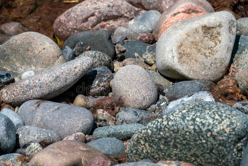 Multi gekleurde kiezelstenen op een strand stock afbeeldingen