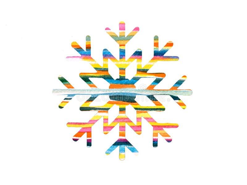 Multi Gekleurde Waterverfsneeuwvlok voor Ontwerp stock illustratie