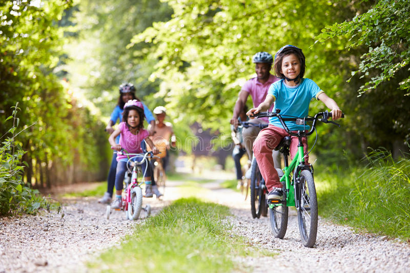 Multi Generation African American Family On Cycle Ride royalty free stock images