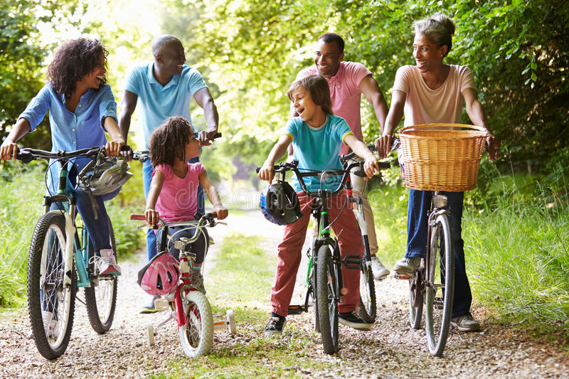 Multi Generation African American Family On Cycle Ride royalty free stock image