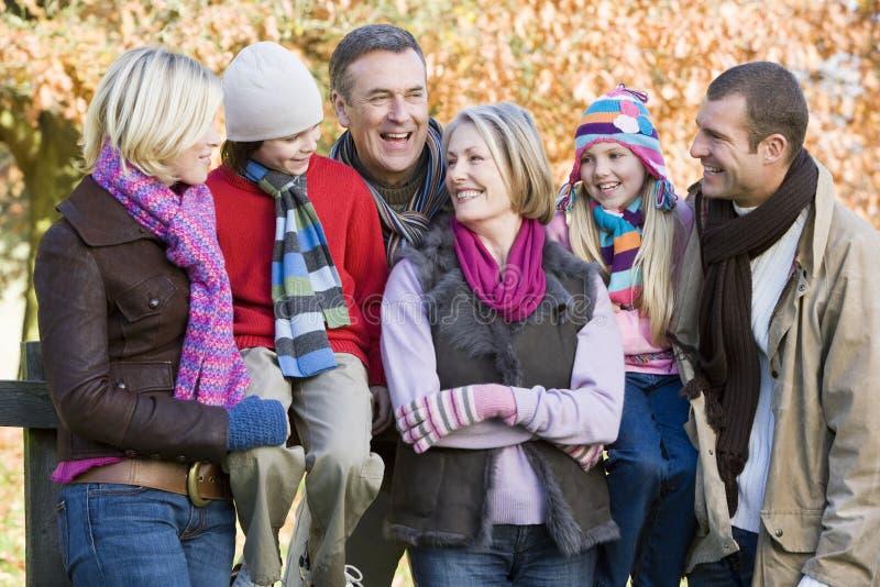 Multi-generation Family On Autumn Walk Stock Photography